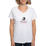 Cycling (red stars) Women's V-Neck T-Shirt