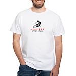 Cycling (red stars) White T-Shirt
