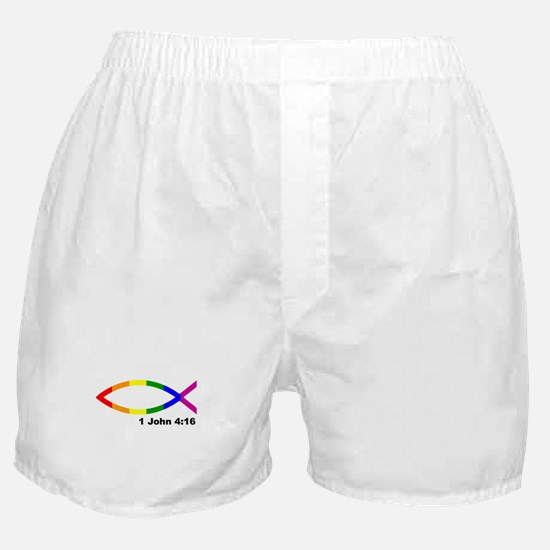God is Love Jesus fish Boxer Shorts
