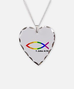 God is Love Jesus fish Necklace
