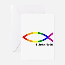 God is Love Jesus fish Greeting Cards