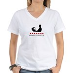 Computer Geek (red stars) Women's V-Neck T-Shirt