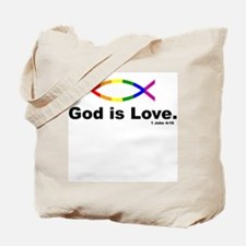 God is love over Jesus fish Tote Bag