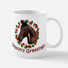 Christmas Lights Wreath Horse Mug