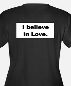 I Believe Women's V-Neck Dark Plus Size T-Shir