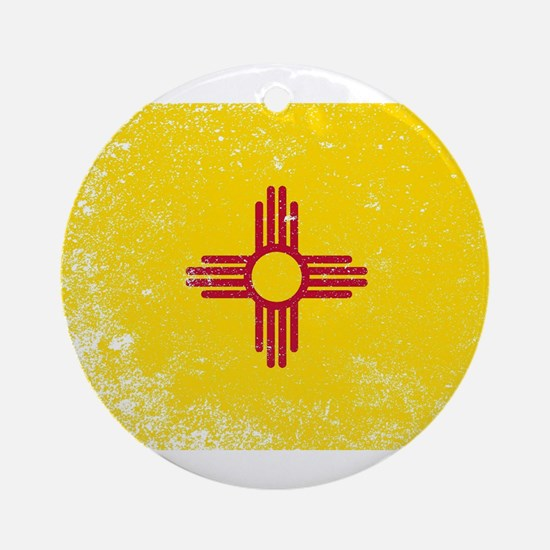New Mexico State Flag Grunge Round Ornament