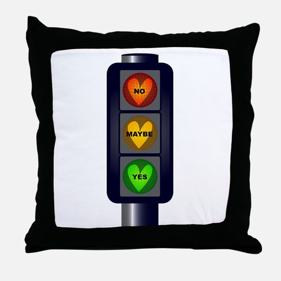Yes No Maybe Traffic Lights Throw Pillow