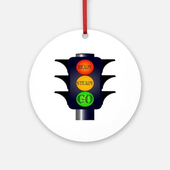 Ready Steady Go Traffic Lights Round Ornament