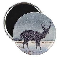 """Snowdusted Deer 2.25"""" Magnet (10 pack)"""