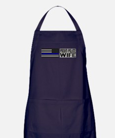 Police: Proud Wife (Black Flag Blue Line) Apron (d