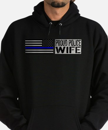 Police: Proud Wife (Black Flag Blue Line) Hoodie