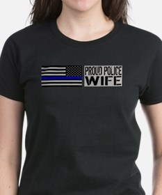 Police: Proud Wife (Black Flag Blue Line) T-Shirt