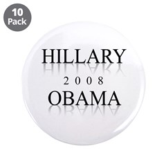 "Hillary Obama 2008 3.5"" Button (10 pack)"