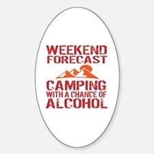 Cute Camping Sticker (Oval)