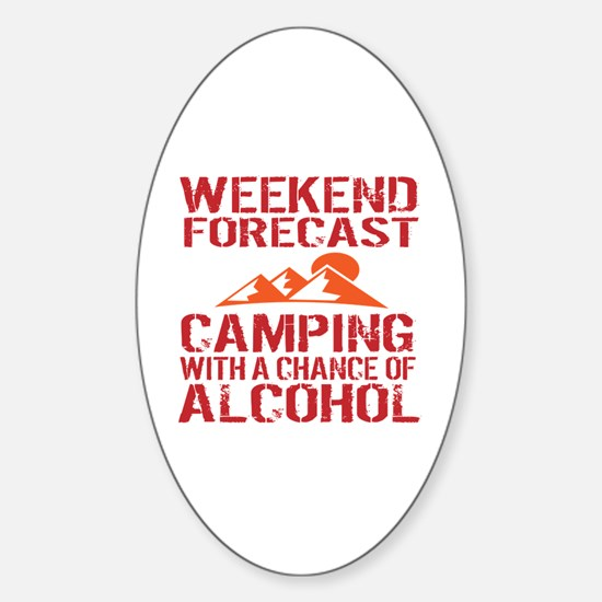 Cute Funny camping Sticker (Oval)