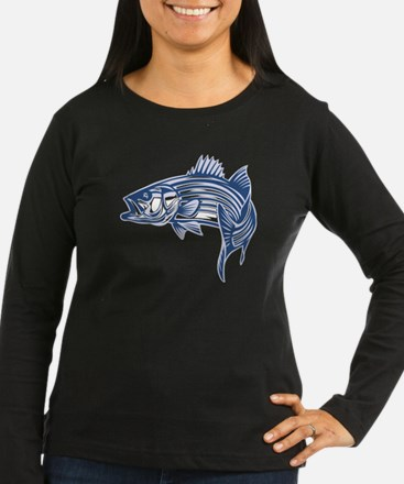 Graphic Striped Bass Long Sleeve T-Shirt