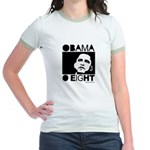 Obama 2008: Obama O eight Jr. Ringer T-Shirt