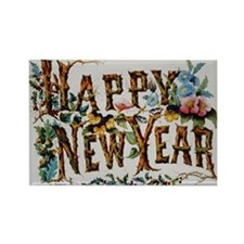 Cute Vintage happy new year Rectangle Magnet