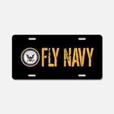 U.S. Navy: Fly Navy (Black) Aluminum License Plate