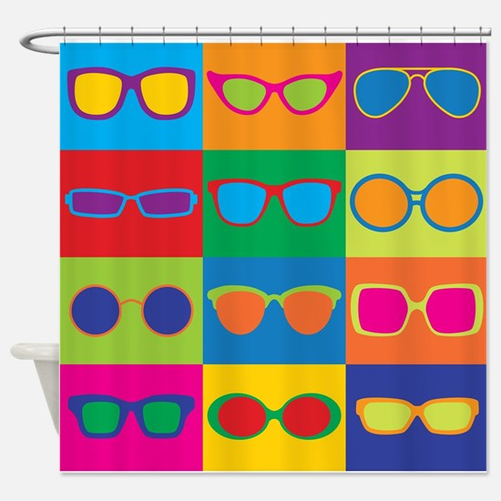 Sunglasses Checkerboard Shower Curtain