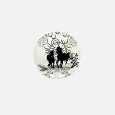 Awesome horses silhouette Mini Button