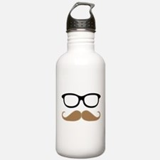 Mustache and Glasses Water Bottle
