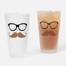 Mustache and Glasses Drinking Glass