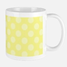Pale Yellow Polka Dots over Yellow Background Mugs
