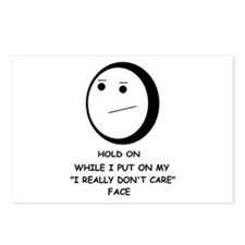 I DON'T CARE FACE Postcards (Package of 8)
