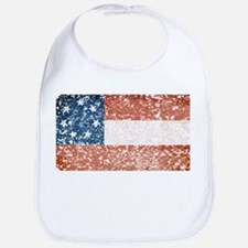 Discrete Distressed Stars Bars Flag Bib