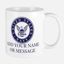 PERSONALIZED US Navy Blue White Mugs