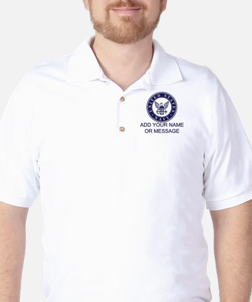 PERSONALIZED US Navy Blue White Golf Shirt