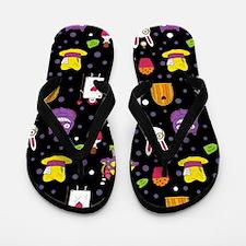 black Wonderland Flip Flops