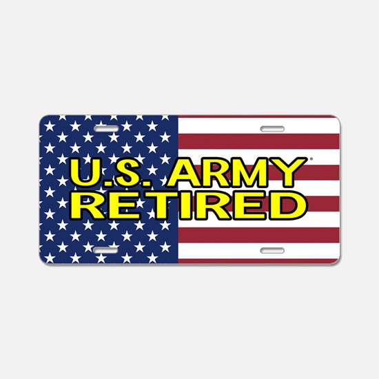 U.S. Army: Retired (American Flag) Aluminum Licens