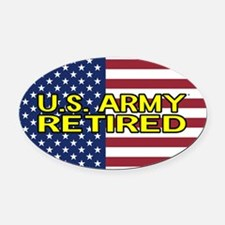 U.S. Army: Retired (American Flag) Oval Car Magnet