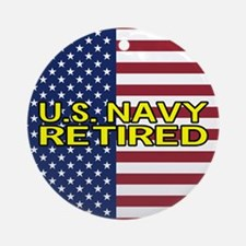 U.S. Navy: Retired (American Flag) Round Ornament