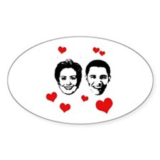 Clinton / Obama 2008 Oval Decal