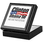 Clinton/Obama '08: We are the future Keepsake Box