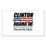 Clinton/Obama '08: We are the future Sticker (Rect