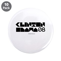 "Clinton / Obama 2008 3.5"" Button (10 pack)"