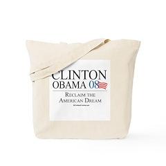 Clinton/Obama: Reclaim the American Dream Tote Bag