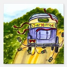 """Just Married * Square Car Magnet 3"""" X 3"""""""