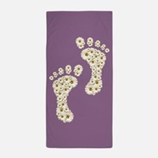 Daisy Footprints (purple) Beach Towel