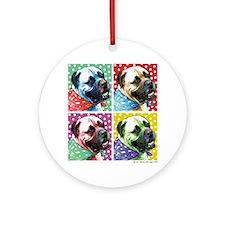 Four Faces Bullmastiff Ornament (Round)