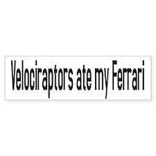 Velociraptor Ferrari Bumper Bumper Sticker