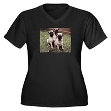 Pugs Women's Plus Size V-Neck Dark T-Shirt