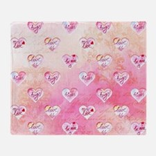 Vintage Pink Hearts with Love Words Throw Blanket