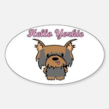 Hello Yorkie Oval Decal