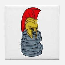 spartan's helmet on weights Tile Coaster