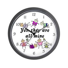 All Mine (7 Kids) Wall Clock